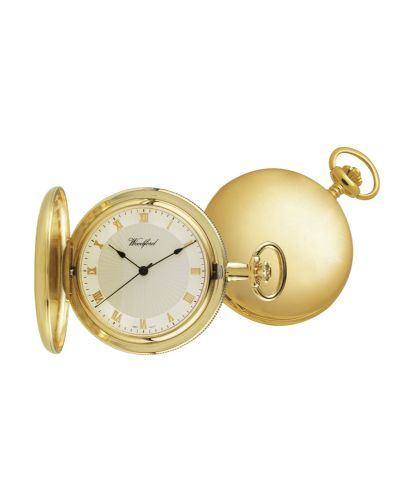 Mechanical Gold Plated Plain Pocket Watch With Chain